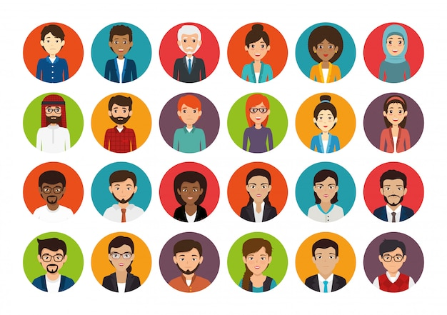 Bundle with set of face business people Free Vector