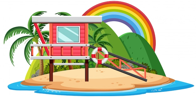 Bungalow on the tropical island cartoon on white background Premium Vector