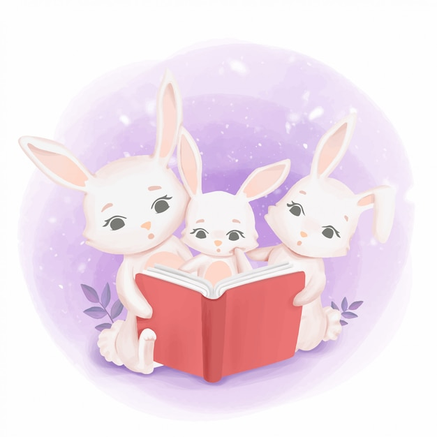 Bunnies family reading a book Premium Vector
