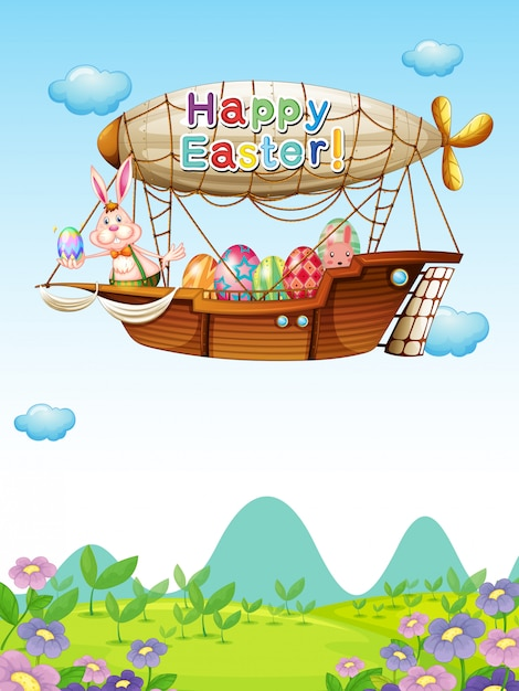 Bunnies with eggs riding in an airship Free Vector