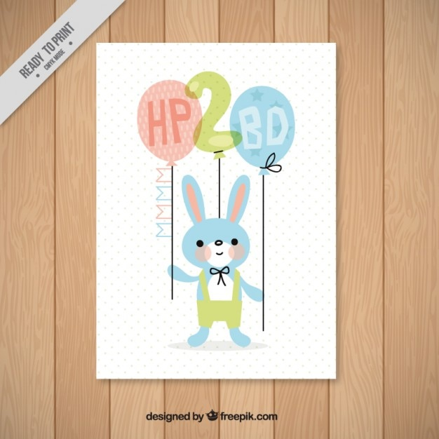 Bunny Birthday Card Vector Free Download