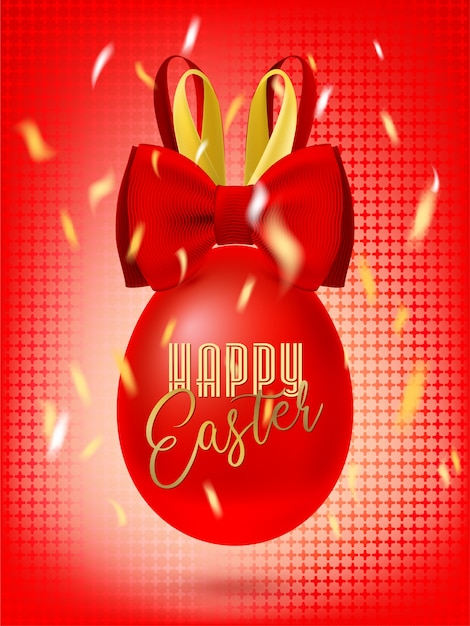 Bunny bow easter egg in the confetti. red greeting banner Premium Vector