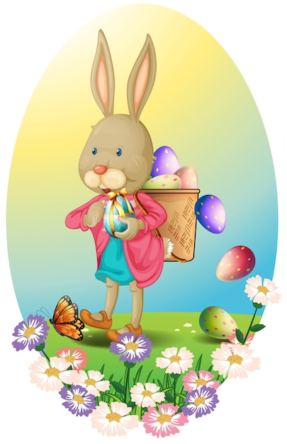 A bunny carrying a bag of easter eggs Premium Vector