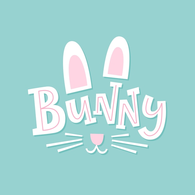 Bunny. cute illustration with hand drawn font Premium Vector