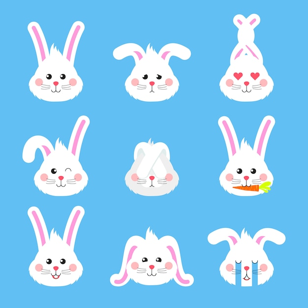 Bunny emotions character head icons. Premium Vector