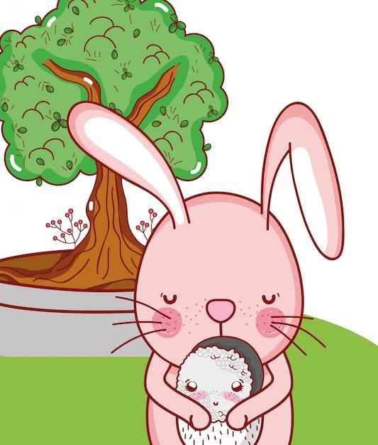 Bunny and food kawaii Premium Vector