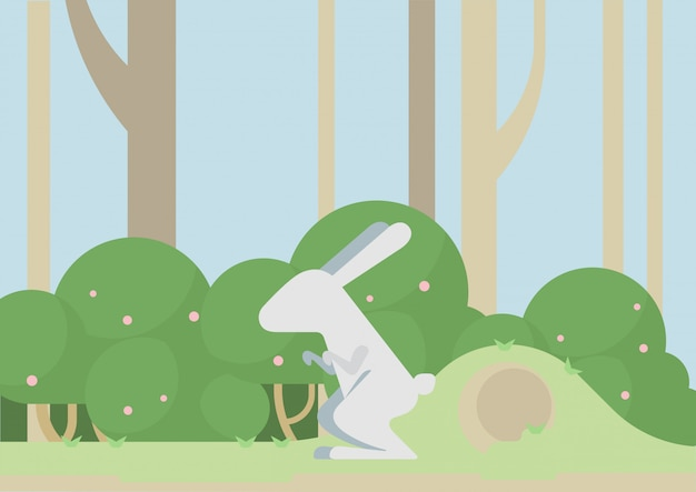 Bunny hare rabbit flat cartoon, wild animal in the forest. Free Vector