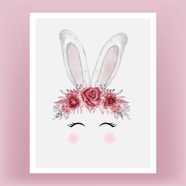 Голова кролика акварельный цветок красный бордовый рисованная иллюстрация Бесплатные векторы