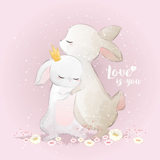 Bunny hugging each other Premium Vector