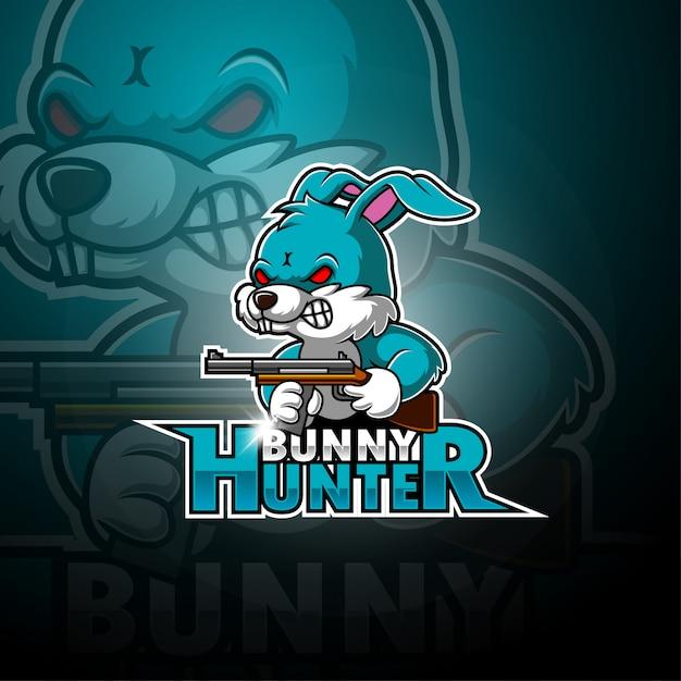 Логотип талисмана bunny hunter esport Premium векторы