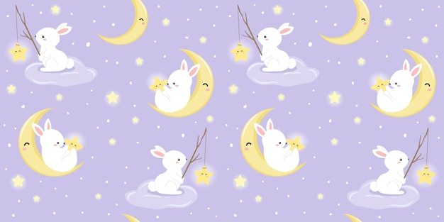 Bunny and moon illustration in seamless pattern Premium Vector