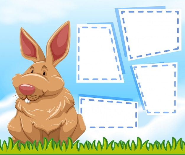 A bunny on note template Free Vector