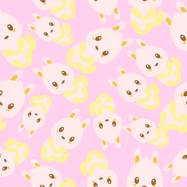 Bunny Pattern Background Vector Free Download Adorable Bunny Pattern