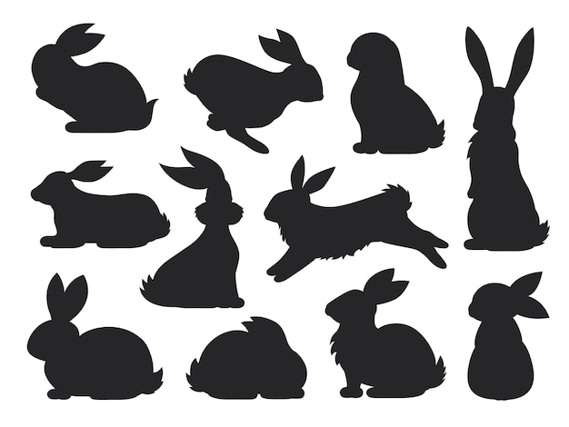 Силуэт питомца кролика в разных позах. коллекция заяц и кролик. набор милых кроликов. Premium векторы