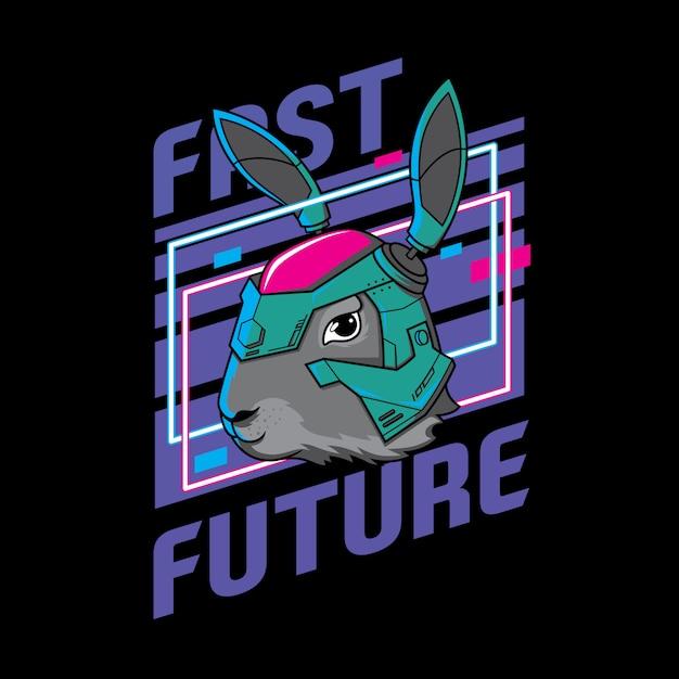Bunny robot. rabbit wearing helmet future illustration ready print for t-shirt and sticker Premium Vector