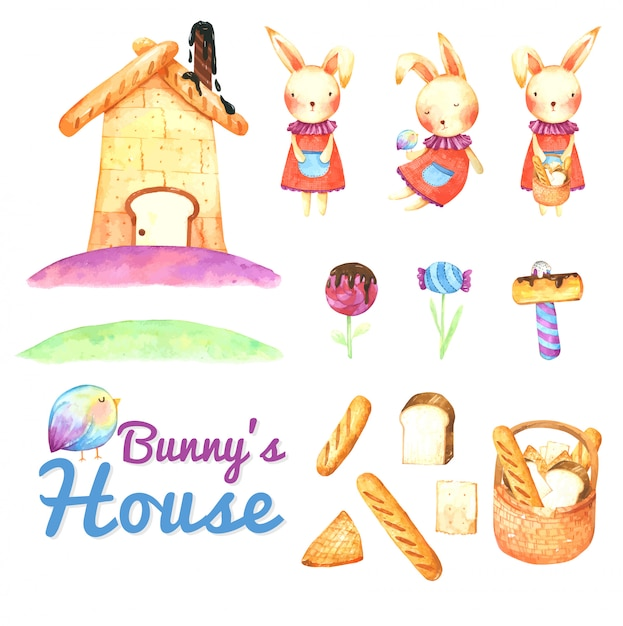 Bunny's bread house cartoon in watercolor Premium Vector