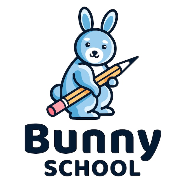 Bunny school kids logo template Premium Vector