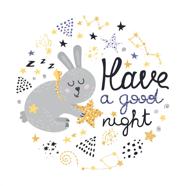 Bunny, stars and lettering design Premium Vector