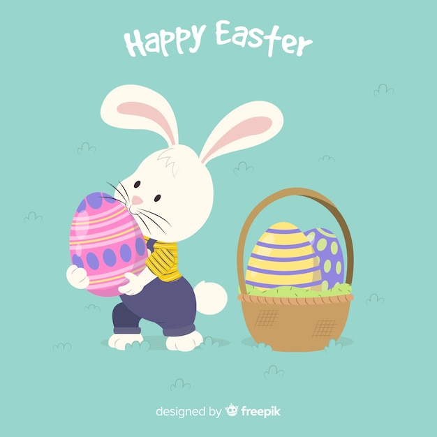 Bunny taking an egg easter background Free Vector