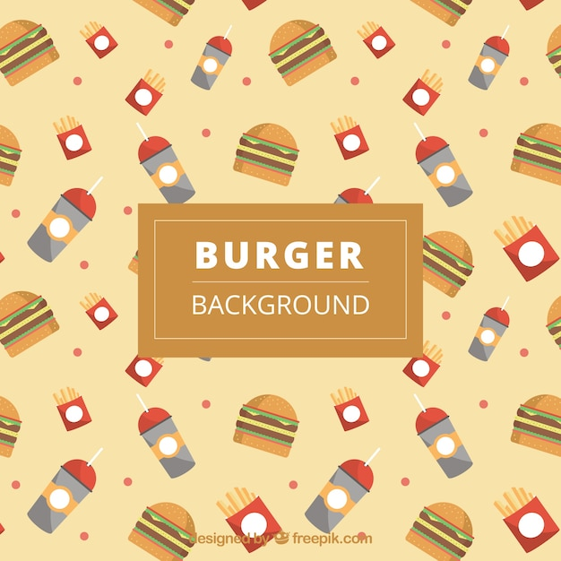 Burger background with decorative drinks in\ flat design