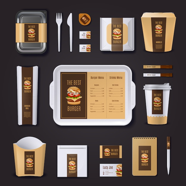Burger bar corporate identity of packaging stationery and business cards Free Vector