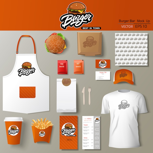Бургер бар фирменный стиль дизайн шаблона установлен. брендинг шаблона. Premium векторы