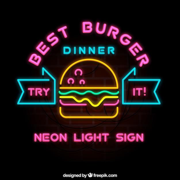 Burger Bar Neon Sign Vector Free Download