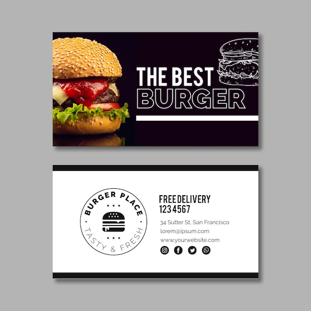 Burger business card template Free Vector