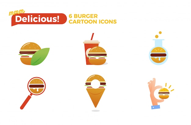 Burger cartoon icon set Free Vector