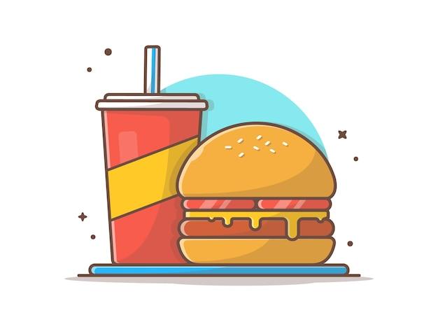 Burger clip-art with soda and ice vector clip-art illustration Premium Vector