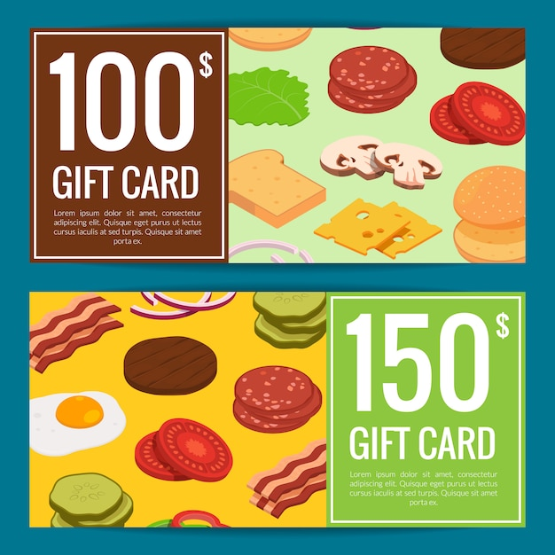 Burger discount or gift set Premium Vector