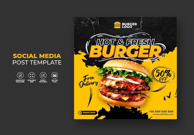 Burger fast food restaurant promotion for social media template. Premium Vector