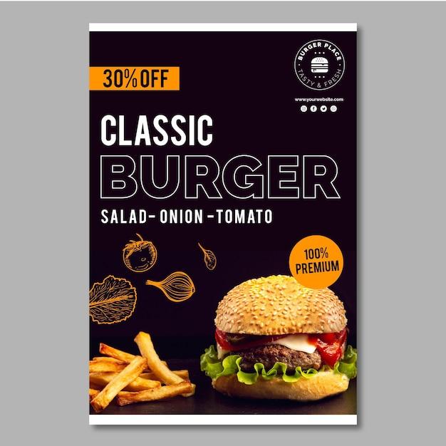 Modello di volantino di hamburger Vettore gratuito