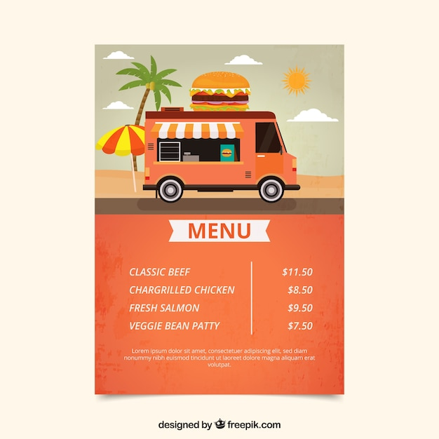 Burger Food Truck Menu On The Beach Vector Free Download
