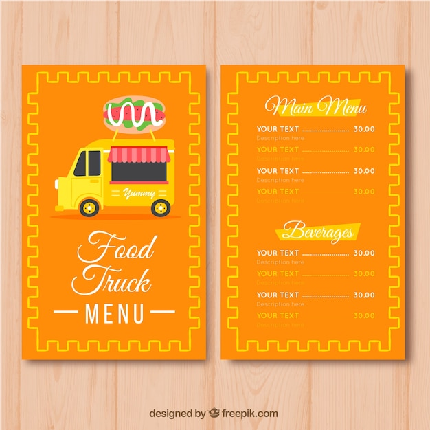 Burger food truck menu template