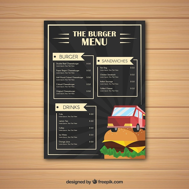 burger food truck menu with flat design stock images page everypixel