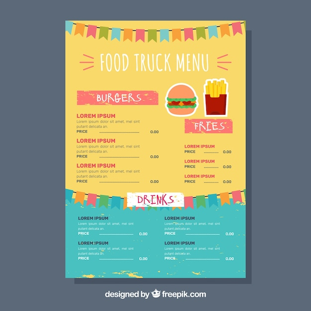 Burger food truck menu with fun style