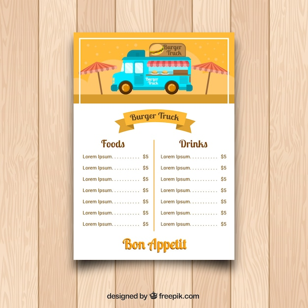 Burger food truck menu with umbrellas