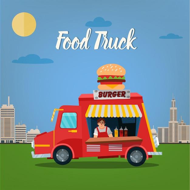 Концепция уличной еды с burger food truck и продавцом в мегаполисе Premium векторы