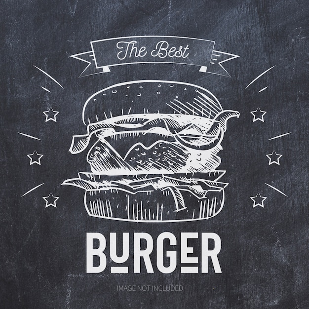 Burger grill illustration on black chalkboard Free Vector