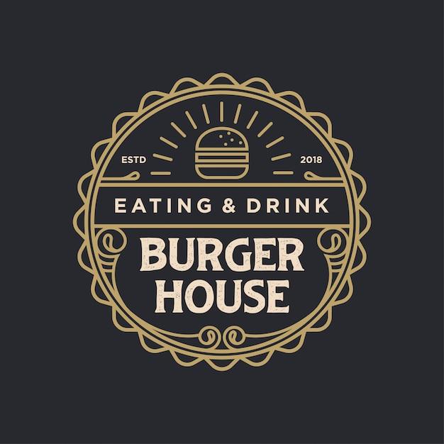 Burger houseロゴヴィンテージ Premiumベクター