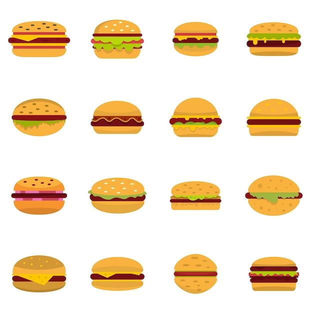 Burger icons set Premium Vector