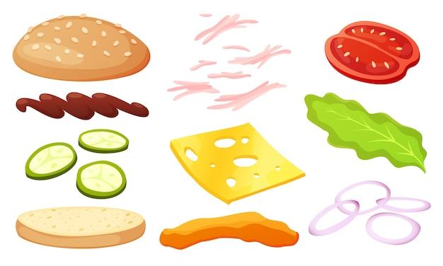 ハンバーガーの食材のdiyコレクション。独自のハンバーガーとサンドイッチを作るための分離された食材のセット。ハンバーグのスライス野菜、ソース、パン、カツ。 Premiumベクター