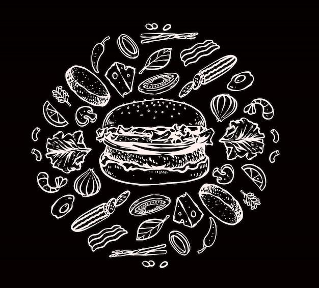 Burger ingredients set Premium Vector