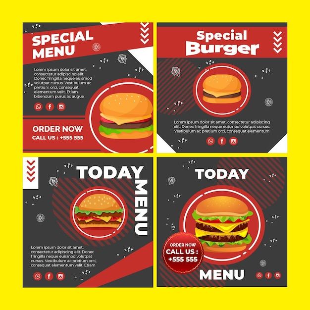 Burger instagram post collection Free Vector