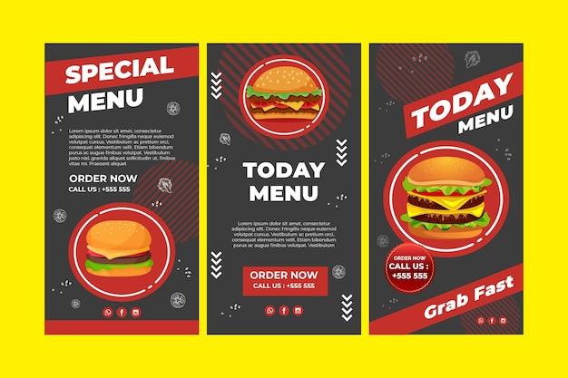 Collezione di storie di instagram di burger Vettore gratuito