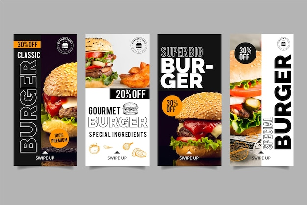 Burger instagram stories collection Free Vector