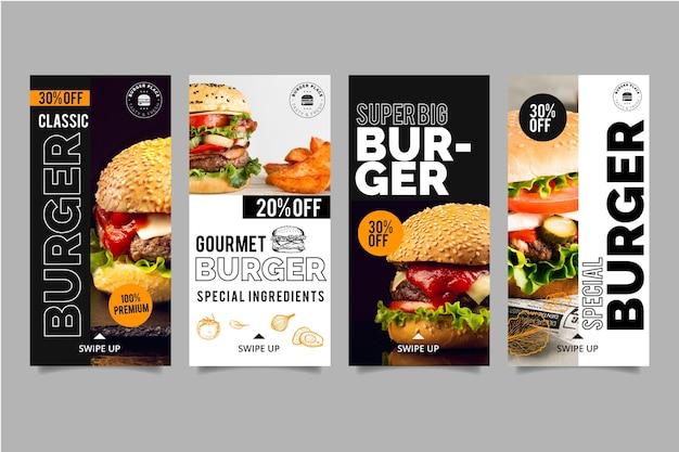 Collezione di storie di instagram burger Vettore gratuito
