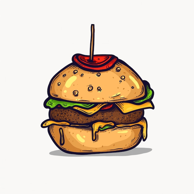 Premium Vector Burger Isolated Hand Drawn Illustration Fast Food Clipart Element