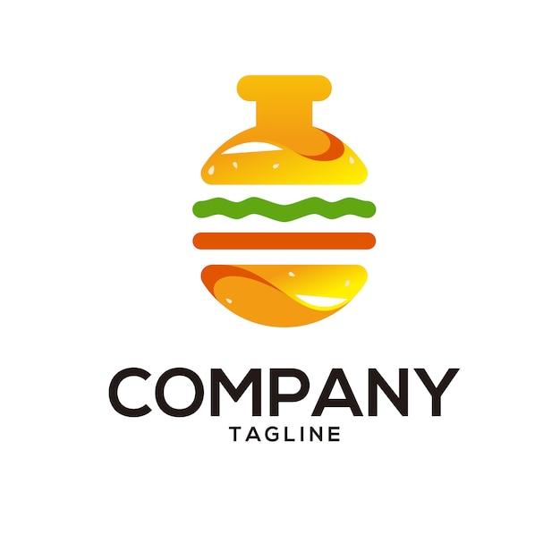 Burger labのロゴ Premiumベクター